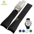Pulseira de relógio de borracha à prova d' água pulseira de silicone pulseira pulseira de pulso banda 20mm dobra cinto relógio fivela acessórios