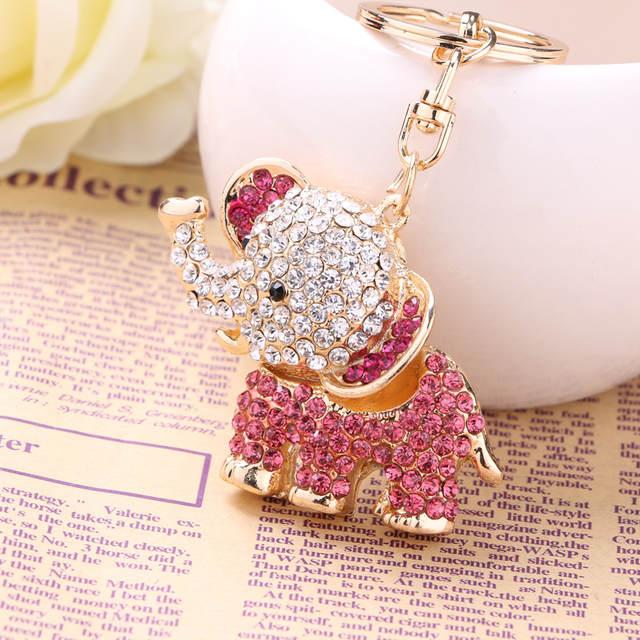 Fashion Crystal Elephant Car KeyChain Alloy Key Chain Ring Holder Animal  Keyring llaveros Charm 2e64a677f3