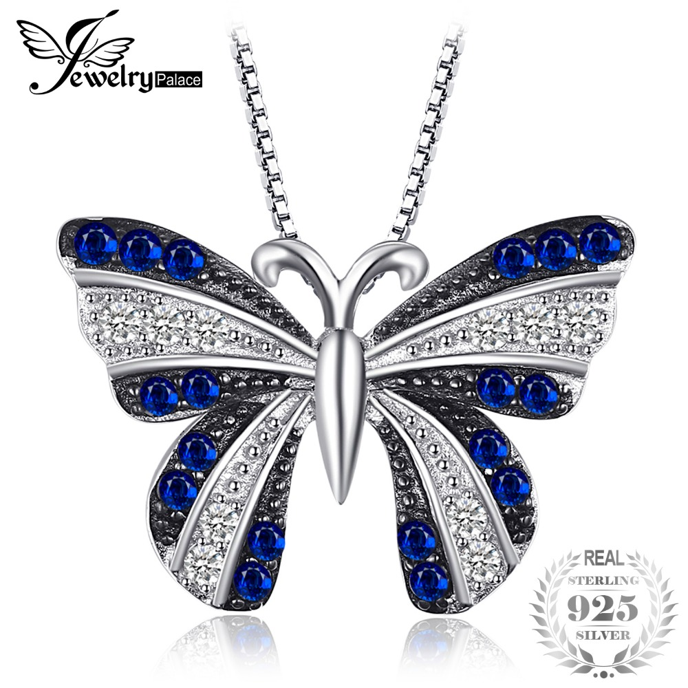 JewelryPalace Butterfly Created Blue Spinel Pendant 100% 925 Sterling Silver Not Include A Chain Woman's Fashion Charm jewelrypalace 100