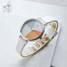 Shengke Creative Shell Dial White Classic Leather Strap Fashion Women Watches Quartz Movement Relogio Feminino Simple Wristwatch