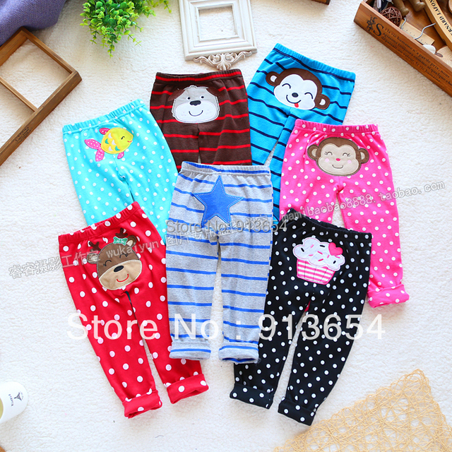 Free shipping Retail new 2014 spring summer baby clothing girls leggings baby pants Lovely dot animal trousers kids Casual pants