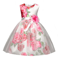 Berngi Big Rose Flower Print Girl Dress Kids Summer Princess Party Dress Flowers Decorated Children Christmas