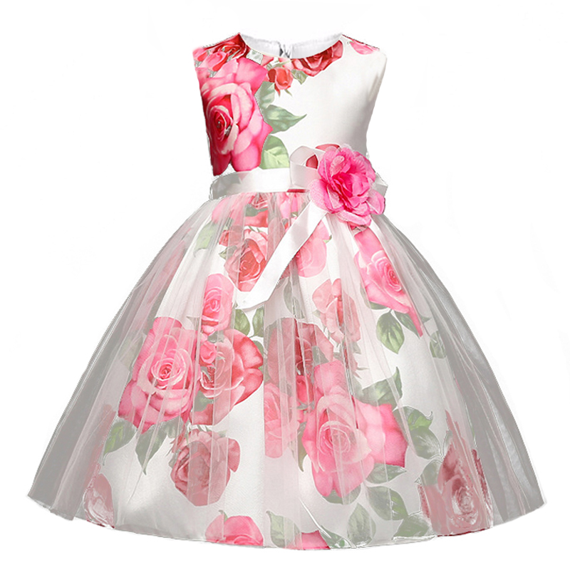 Berngi Big Rose Flower Print Girl Dress Kids Summer Princess Party Dress Flowers Decorated Children Christmas Prom Party Clothes summer children clothes princess flower print kids beach dress infant formal birthday party girl white dress family match outfit