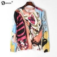 JOYDU Vintage Runway Design Brand Knitted Sweater 2018 New Spring Pullover Chain Letter Print Long Sleeve Korean Fashion Jumper