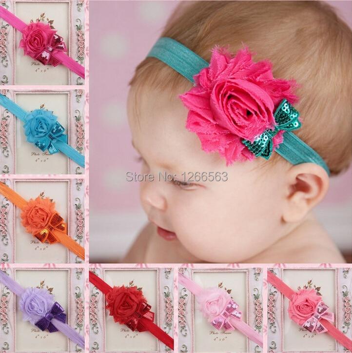 Infantiles de flores lamentables venda elástico del pelo del bebé de las vendas accesorios para el