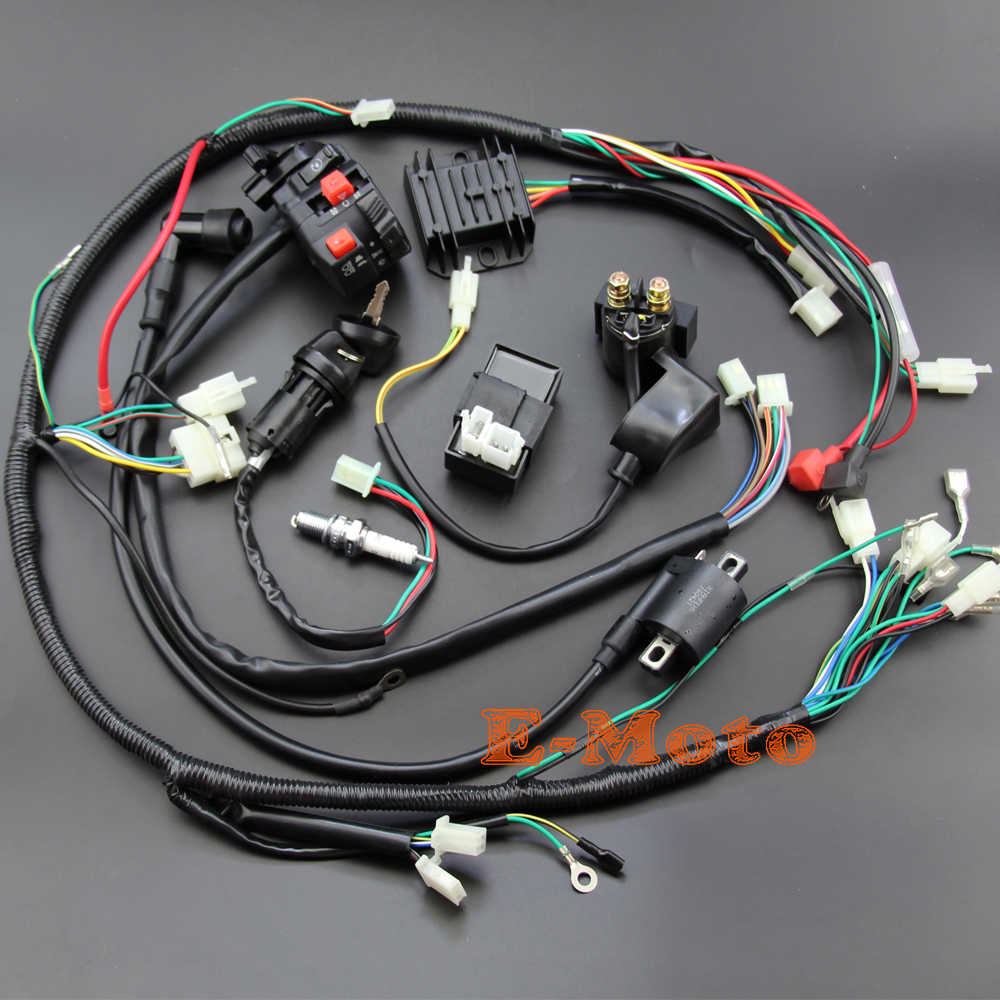 Detail Feedback Questions About Full Electrics Wiring Harness Coil Dirt Pit Bike Kill Switch Ignition Cdi Set 110 125 Loom D8ea For 150cc 200cc 250cc 300cc Zongshen Lifan Atv