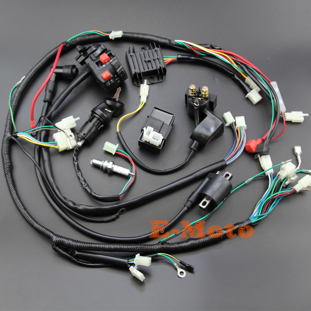 ignition wiring harness reviews online shopping ignition wiring full wiring harness loom ignition coil cdi ngk for 150cc 200cc 250cc 300cc zongshen lifan atv quad buggy electric start engine