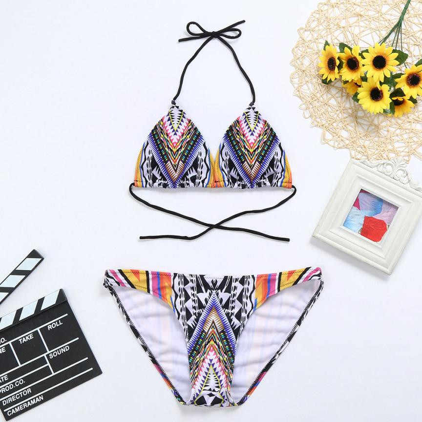 84bec6aaaedc9 Women Girls Summer Costume Padded Bikini Sets Trendy Print Ladies Swimsuit  Monokini Swimwear Bikini Set Bathing