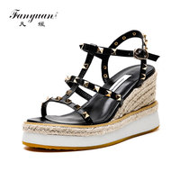 Fanyuan beige Ladies Sandals Platform Sandals Women Shoes Summer High Heels Shoes Ankle Strap Chaussures Femme Rivet Wedges Shoe