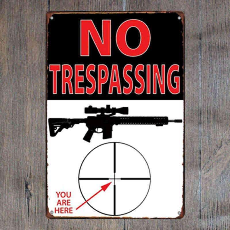 No Trespassing Warning Gun Shot Metal Tin Signs Vintage Plate Wall Bar  Garage Shop Home Cafe Art Craft Decor Plaque 20x30 cm