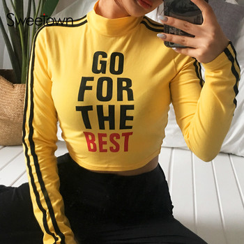 Sweetown Harajuku Crop Top Long Sleeve Turtleneck T Shirt Yellow Striped Korean Style Top Women Printed Girl Power Kawaii Tshirt diy crop top