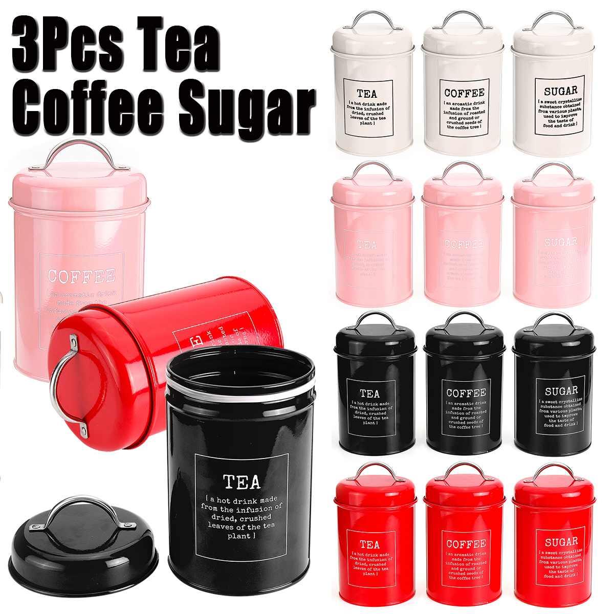 3Pcs/Set Storage Tank Cover Steel Kitchen Utensils Multifunction  Sugar Tea Coffee Box Case Household Food Canister Snack TankStorage  Bottles