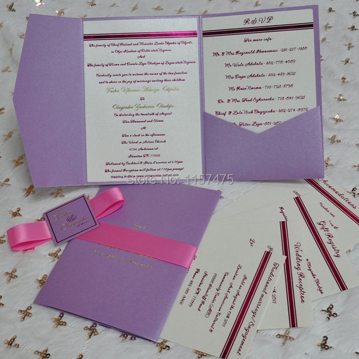 HI5005 Personalized Pocket Fold Wedding Invitation Cards-in Cards ...