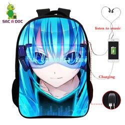16 Cal ładowarka Usb Plecak Miku Hatsune drukuje torba szkolna dzieci plecaki szkolne dla dzieci Plecak dziewczyny Plecak podróżny Plecak Szkolny 1
