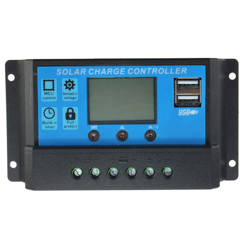Intelligent Home 20A 12V/24V LCD Display Solar Charge Controller with USB Port solar controller charge with usb port 2440u 12v24v40a