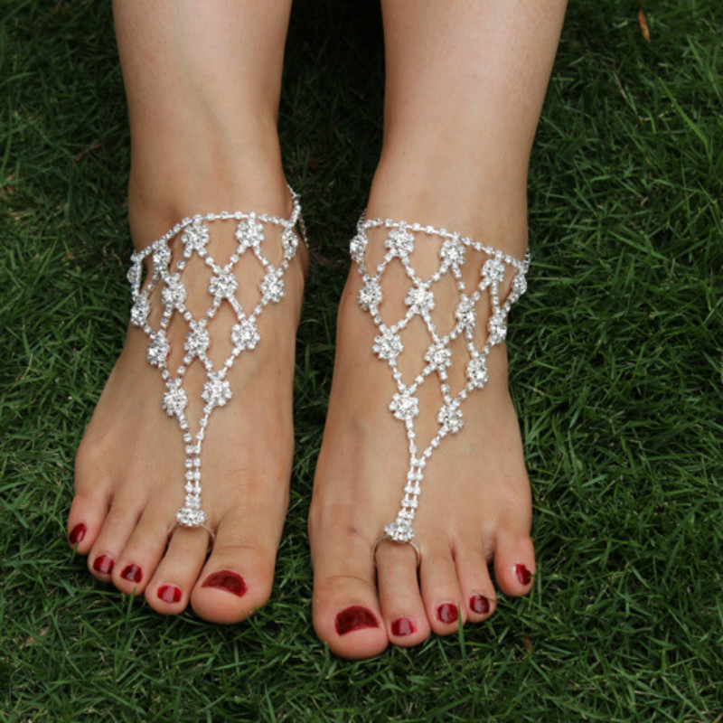 Slave Chain Anklet Clear Rhinestone barefoot sandals Fringe Silver Plated Sparkly Toe Ring Bare Foot Jewelry for Women JL019