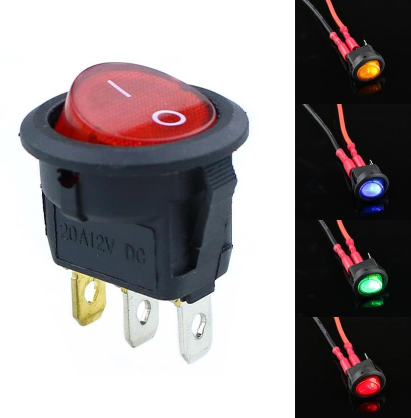 Waterproof SPDT Round Marine Button Switch with Blue LED Light for Car RV Truck Boat Black Shell EEEKit 5pcs 16mm 5//8 12V Metal Momentary Push Button Switch