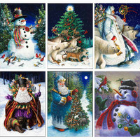 Christmas Handmade Crafts Embroidery Square Diy Diamond Painting Mosaic Painting Kits Homes Full Diamond Needlework Art