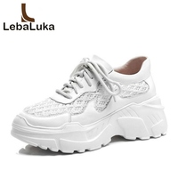 LebaLuka Women Sneakers Real Leather Casual White Shoes Women Outdoor Lightweight Air Mesh Fitness Chunky Sneaker Size 34 39