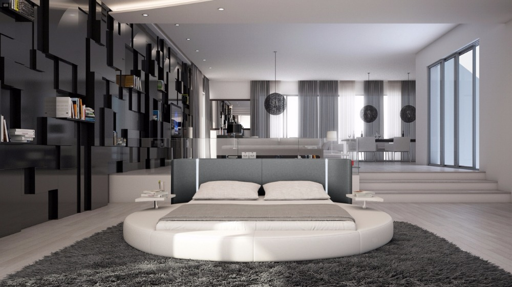 Buy Contemporary Modern Leather Round Bed King Size Bedroom Furniture Made In