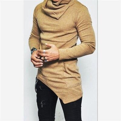 Unbalance Hem Pocket, толстовки с длинным рукавом, мужская спортивная одежда, баскетбольные майки, осенние мужские водолазки, толстовка, топы, 5XL - Цвет: Khaki