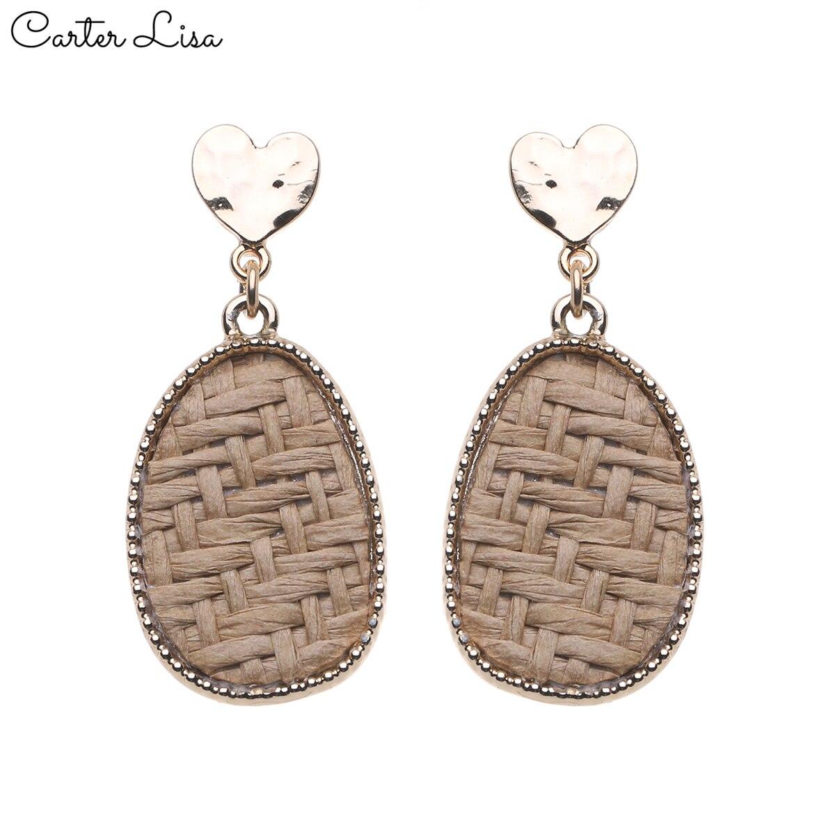 CARTER LISA Fashion Bohemian Style Round Straw Woven Dangle Earrings For Women Round Ear Dangle Drop Earrings Jewelry HDEA-055