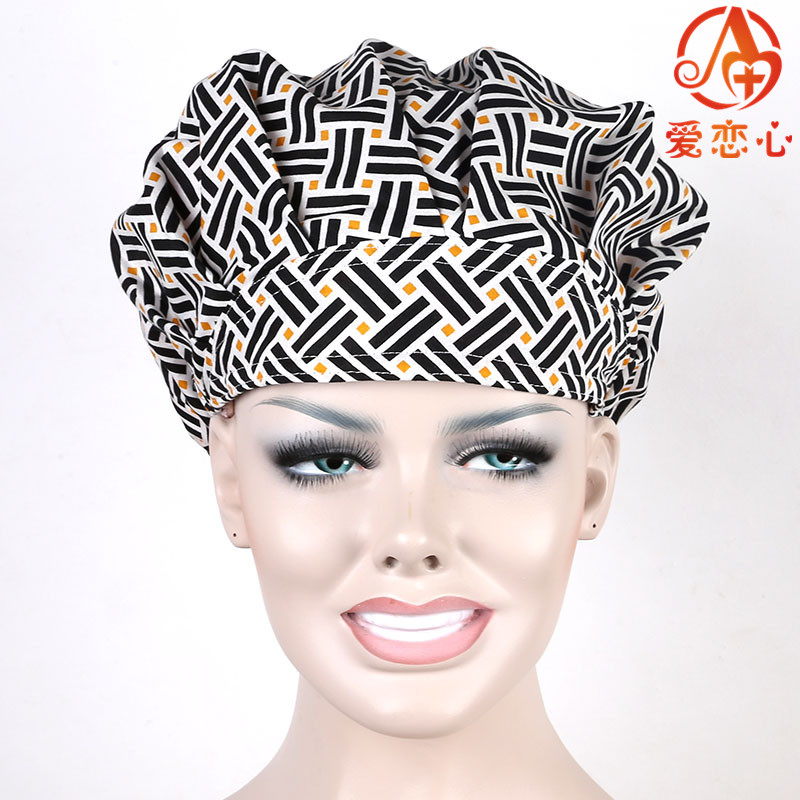 Ai Lianxin women surgical bouffant caps,one size adjustable cotton cosmetologists  ALX-158 ai lianxin surgical bouffant caps one size adjustable animal forest alx 192