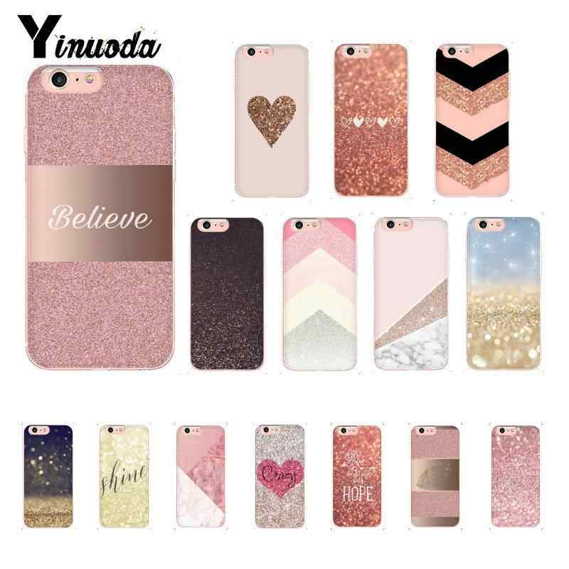 Yinuoda Rose Gold Pink Glitter Pattern TPU Soft Phone Case for iPhone 8 7 6 6S 6Plus X XS MAX 5 5S SE XR 10 Cover
