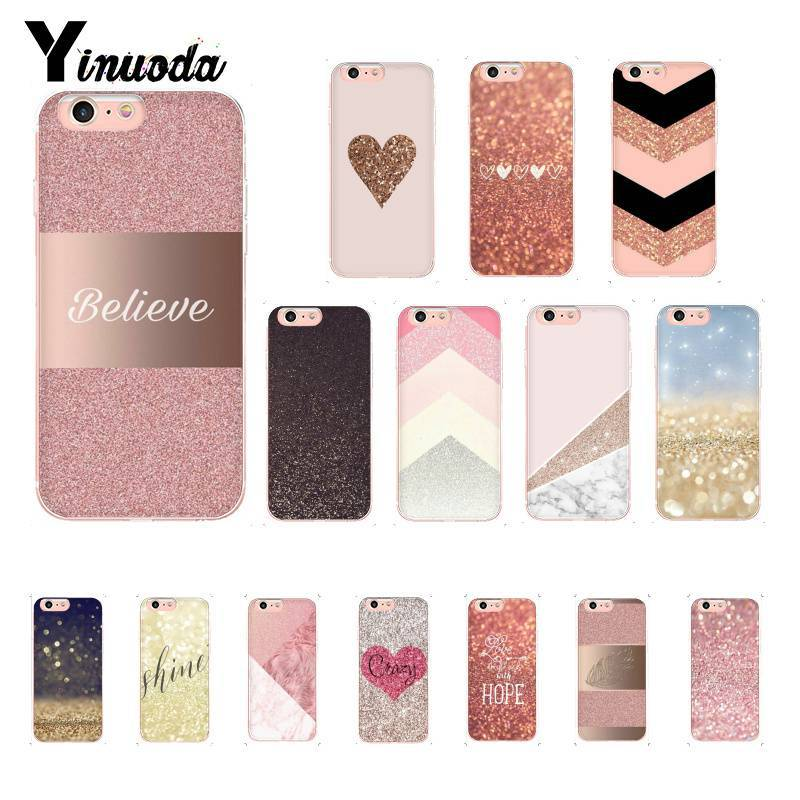 Yinuoda Rose Gold Pink Glitter Pattern TPU Soft Phone Case for iPhone 8 7 6 6S 6Plus X XS MAX 5 5S SE XR 10 Cover couples blanket