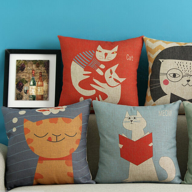 Free Shipping!!Cute cat pillow/almofadas case seat chair car bed,45x45,nordic simple style cushion cover,western home decore
