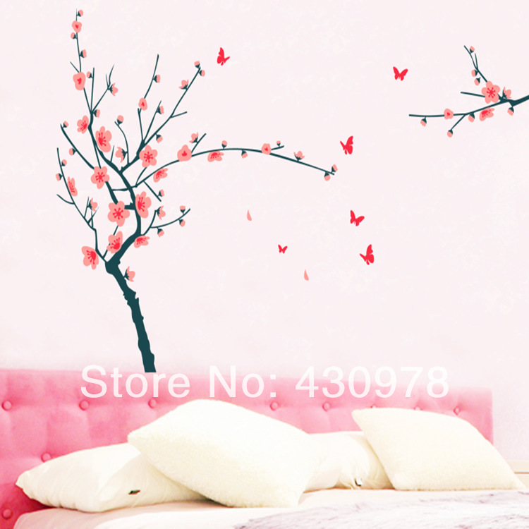 QZ1028 Free Shipping 1Pcs Falling Flower Plum Blossom Red Butterfly Removable PVC Wall Stickers <font><b>Elegant</b></font> Fancy <font><b>Home</b></font> <font><b>Decoration</b></font>