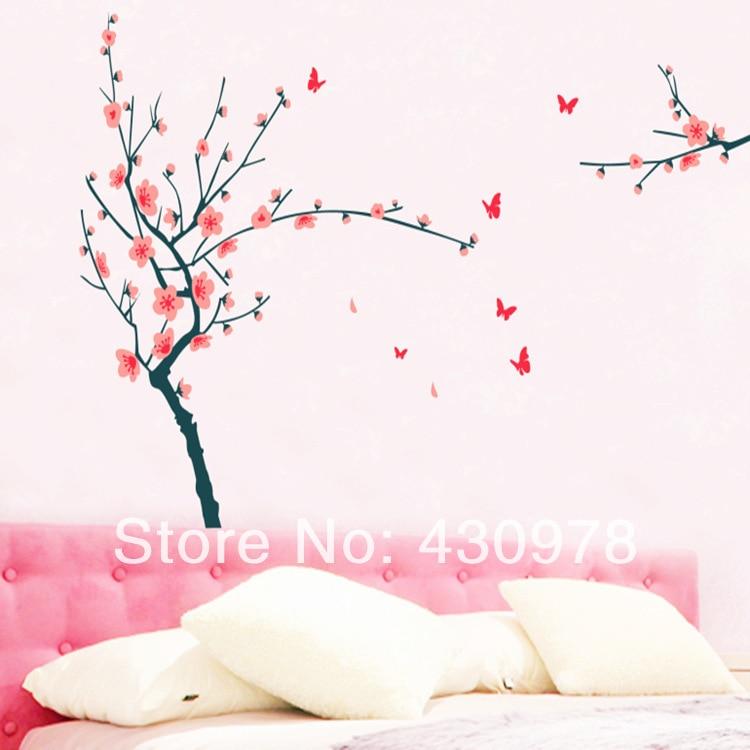 QZ1028 Free Shipping 1Pcs Falling Flower Plum Blossom Red Butterfly Removable PVC Wall Stickers <font><b>Elegant</b></font> Fancy <font><b>Home</b></font> <font><b>Decoration</b></font>