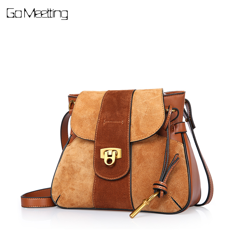 Go Meetting Brand Design 2018 Genuine Leather Ladies Saddle Bag Women Messenger Bag Vintage Shoulder bags for women 2018 mochila