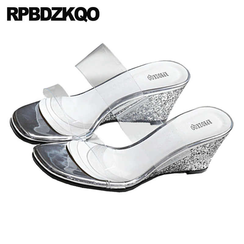 07271c28c9e98 ... High Heels Clear Strap Sandals Wedge Pumps Slides Sequin Big Size Gold  Bling Silver Glitter Shoes ...