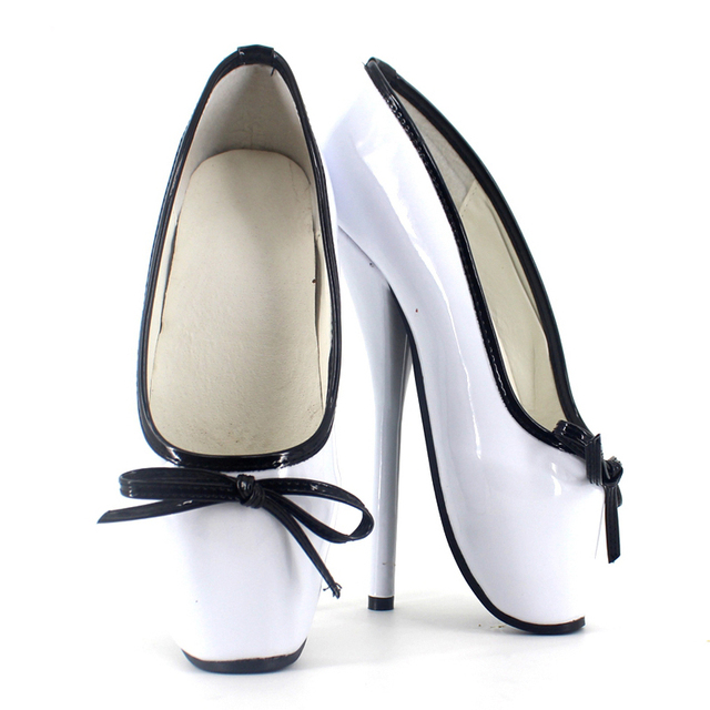 New Sexy Fetish Shoes Unisex Ladies Ballet Shoes Women 7 inch High Heels Bow Tie Shiny Patent Leather Stand Toe Dance Shoes