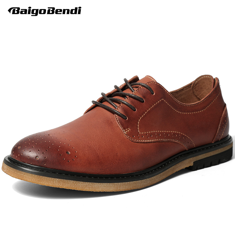 Brand New Spring Retro Men Brogue Shoes Casual Craved Wing Tips Real Leather Oxfords Business Man Lace Up Leisure Shoes british style men real leather brouge shoes boys new spring zip retro casual shoes craved wing tips flat man oxfords