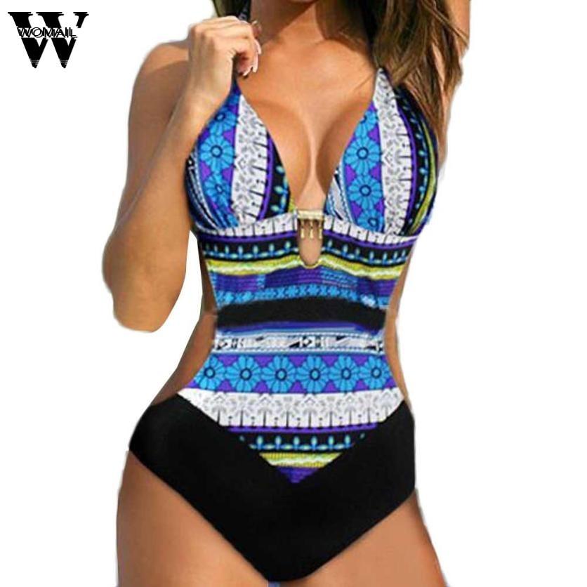 2018 One Piece Swimsuit Push-up Printed Beautiful Underwar Women V-neck Swimwear-women Jan24 Women's Clothing