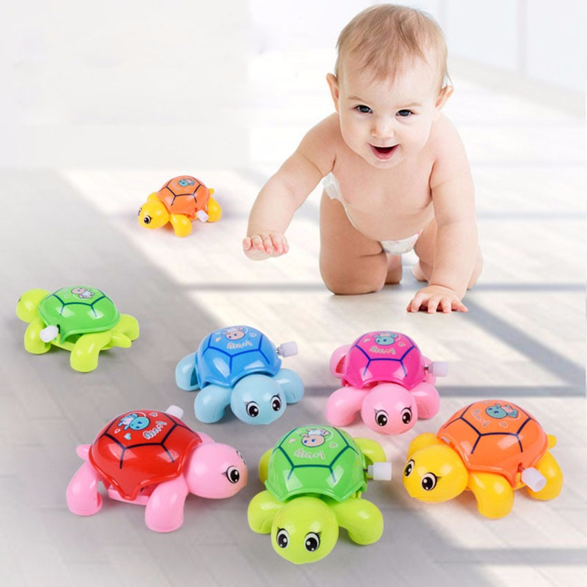 Cute Cartoon Animal Clockwork Tortoise Baby Turtles Toys Infant Crawling Wind Up Toy Educational Kids Classic Toy Random Color