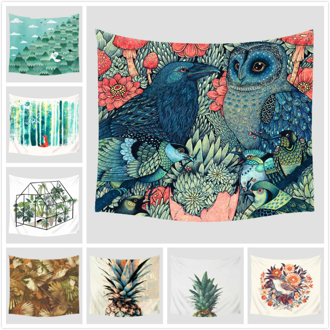 Cartoon Illustration Printed Tapestry Wall Hanging Decoration Furnishing Travel Picnic Beach Yoga Shawl Camping Bohemian Blanket