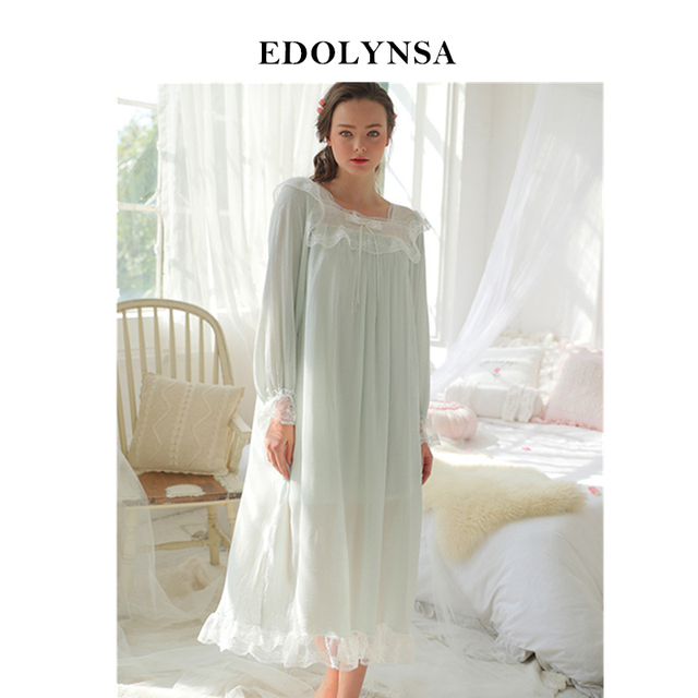 29cc929b81 Sleep   lounge Light Blue Long Sleeve Bow Lace Night Dress Princess Style  Vintage Nightgown Women Sleepwear Cotton Negligee H603