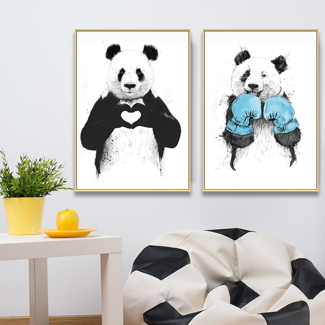 Lovely Animals Cute Panda Heart Loves Posters  1