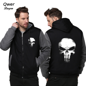 Men Women Punisher Skull Cosplay Coat Zipper Hoodie
