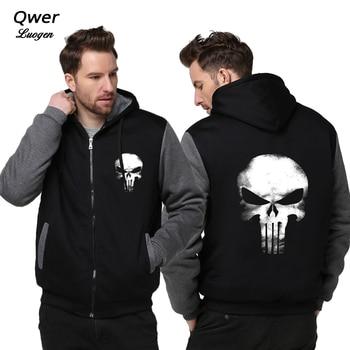 US size Hoodies for Men Women Punish Man Skull Cosplay Coat Zipper Hoodie Fleece Thicken Jacket