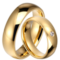 1 Pair 2016 Classic Gold Plated 6mm Titanium Steel Men & Women Marriage Wedding Band Rings Set for Couples Lovers with CZ