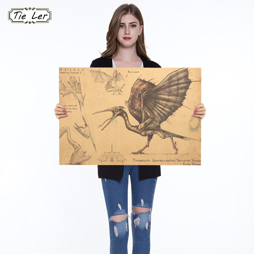 Era of Dinosaurs Pterosaurs Vintage Poster Kraft Paper Decorative Painting Paper Posters Wall Sticker