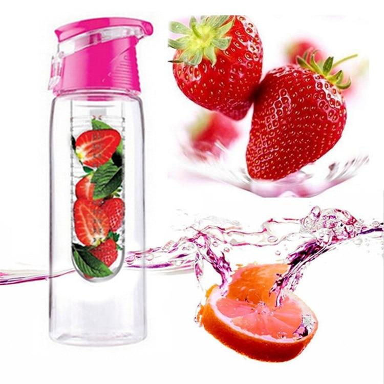 800ml Portable Fruit Bottle Infusing Sports Water Bottle Shaker Plastic Lemon Juice Bottle for Adult Kid Camping Travel Outdoor