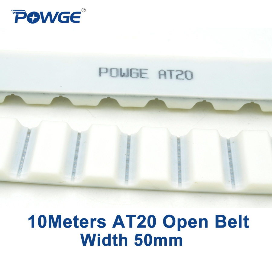 POWGE 10meters Trapezoid PU AT20 Open synchronous belt AT20 50mm width 50mm Polyurethane steel 50AT20 open Timing Belt pulley