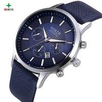 NORTH Men Watch 30M Waterproof Mens Wristwatch Montre Homme Genuine Leather Relojes Hombre 2015 Quartz Male