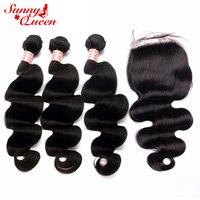 Тела волны бразильский плетение волос Комплект s с Шёлковые подкладки 4 шт. Волосы remy ткань натуральный черный закрытие человеческие волосы