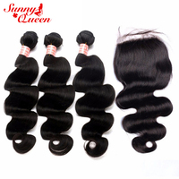 Body Wave Brazilian Hair Weave Bundles With Silk Base Closure 4 Pcs Remy Hair Weave Natural Black Sunny Queen Hair Products